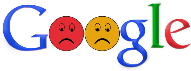google sad face logo for not enforcing google product search requirements