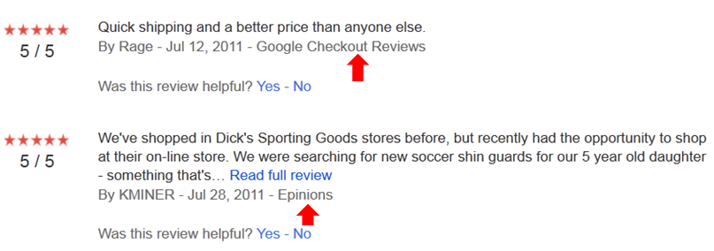 Google Product Search Seller Reviews come from many sites on the internet