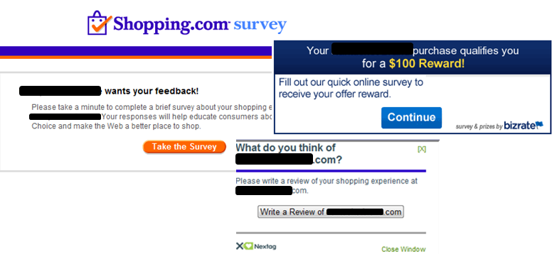 Merchant survey inquiries, reviews on many shopping engines