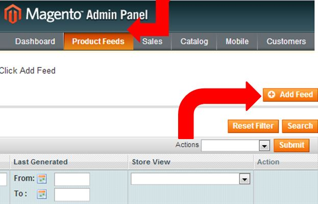 magento feed exporter, send feeds from magento