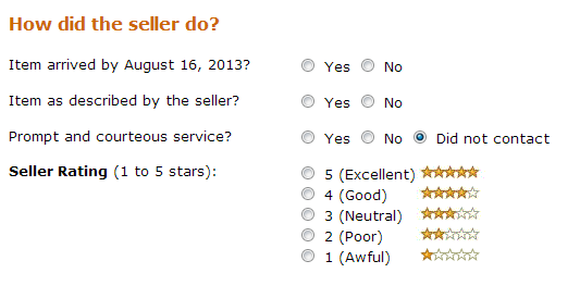 Amazon seller review
