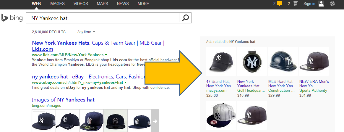 Bing Product Ads in search