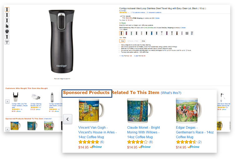 Amazon Sponsored Products on Amazon product pages